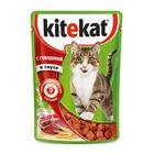 Влажный корм KiteKat для кошек, говядина в соусе, пауч, 85 г