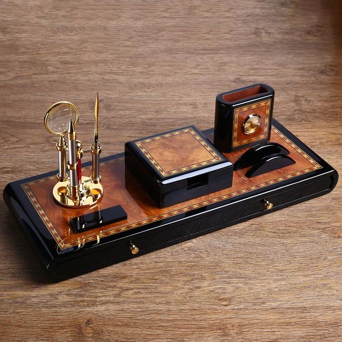 Набор настольный 7в1 (блок д/бумаг,часы с подстав,визитница, лого,нож-лупа-ручка) 20х49х22 см