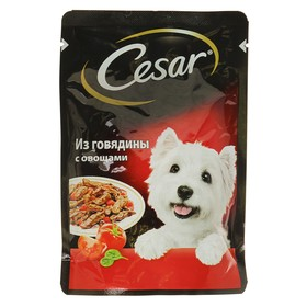 Влажный корм Cesar для собак, говядина с овощами, пауч, 85 г Ош