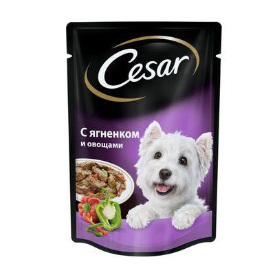 Влажный корм Cesar для собак, ягненок с овощами в соусе, пауч, 85 г - Фото 1