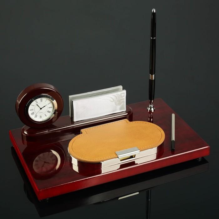 Набор настольный 4в1 (часы в круге, визитница, ручка, блок с бумагой) 30*20см, микс