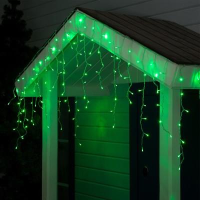 "Гирлянда ""Бахрома"" 3 х 0.6 м , IP44, УМС, прозрачная нить, 160 LED, свечение зелёное, 220 В - Фото 1"