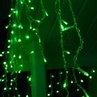 "Гирлянда ""Бахрома"" 3 х 0.6 м , IP44, УМС, прозрачная нить, 160 LED, свечение зелёное, 220 В - Фото 2"