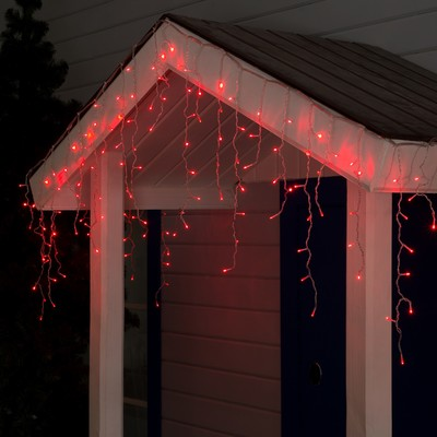 "Гирлянда ""Бахрома"" 3 х 0.6 м , IP44, УМС, прозрачная нить, 160 LED, свечение красное, 220 В - Фото 1"