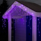 """Гирлянда """"Бахрома"""" 3 х 0.6 м , IP44, УМС, прозрачная нить, 160 LED, свечение фиолетовое, 220 В - Фото 1"""