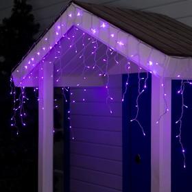 Гирлянда 'Бахрома' 3 х 0.6 м , IP44, прозрачная нить, 160 LED, свечение фиолетовое, 220 В Ош