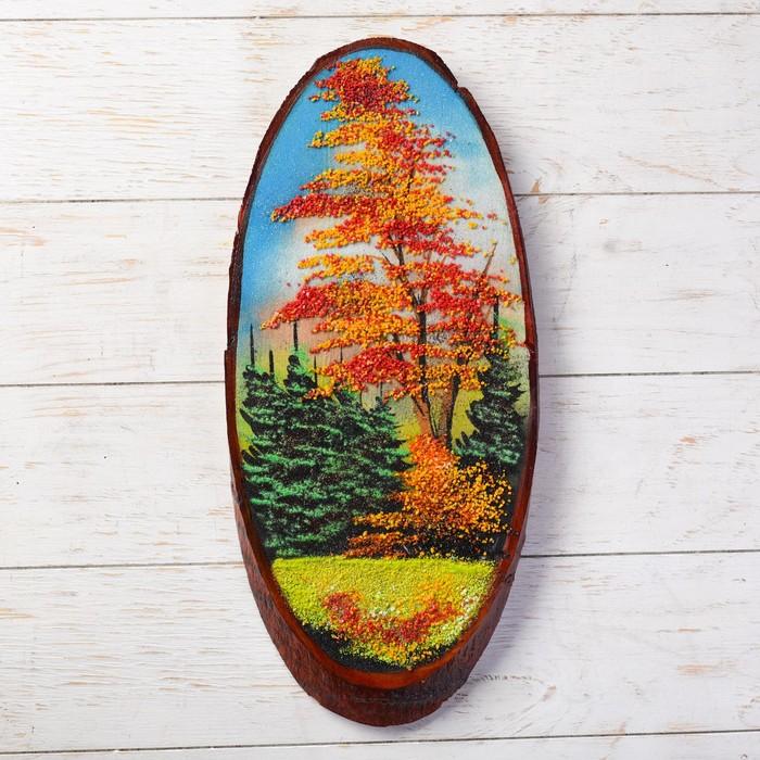 Панно на спиле Осень, 45 см, каменная крошка, вертикальное, микс