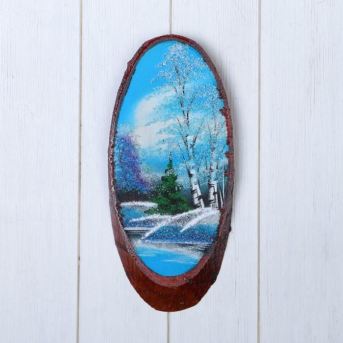 Картина Зима на срезе дерева, каменная крошка