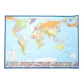 Карта мира политическая, с флагами. Крым в составе РФ. Карта на картоне с ламинацией