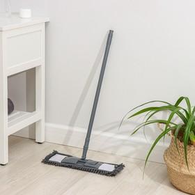 Швабра плоская, телескопическая ручка 70-120 см, насадка микрофибра букли 42×12 см, цвет МИКС