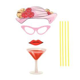 Карнавальный набор для фотосессии «Леди», 4 предмета: шляпа, очки, губы, бокал Ош