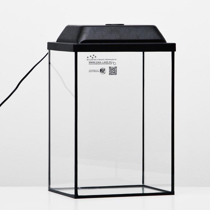 Аквариум колонна с крышкой, 30 литров, 30 х 23 х 43/48,5 см, чёрный