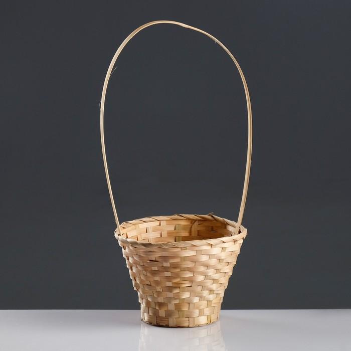 Корзина плетёная, бамбук, натуральный цвет, длинная ручка