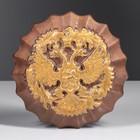 Герб круглый коричневый, золото, 17 см