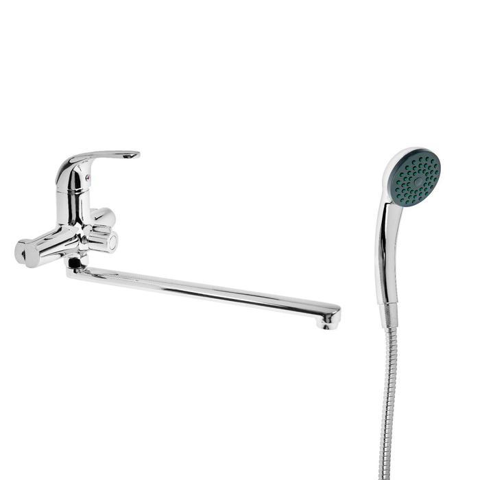 Cмеситель для ванны Accoona A7113, однорычажный, излив 35 см, с душевым набором, хром