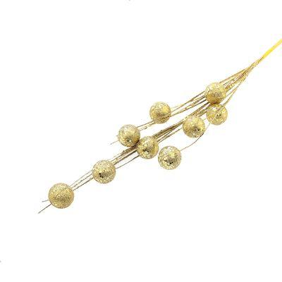 Цветы искусственные блеск 70 см шарики золото