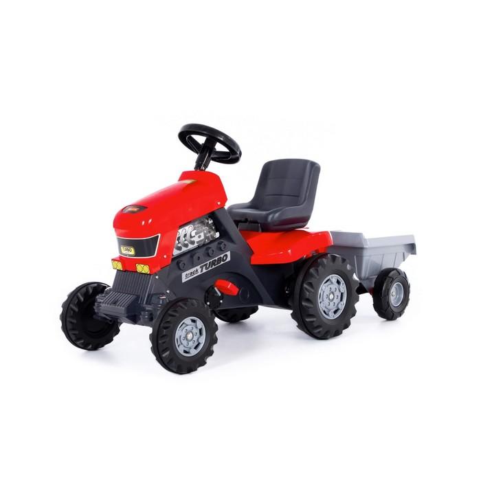 """Каталка-трактор """"Turbo"""" с полуприцепом, цвет красный"""