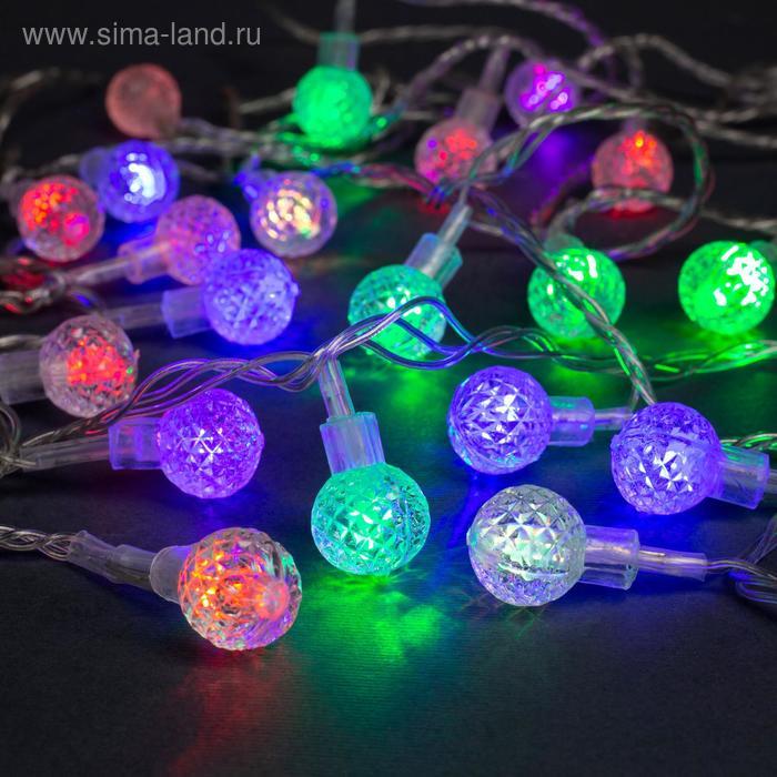 """Гирлянда """"Нить"""" 5 м с насадками """"Мини фонарик"""", IP20, прозрачная нить, 20 LED, свечение мульти, мигание, 220 В"""