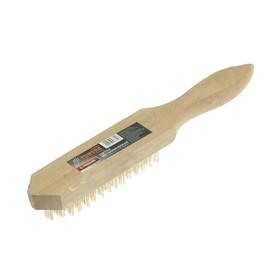 Щетка металлическая ручная TUNDRA, деревянная рукоятка, 6-рядная Ош
