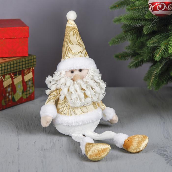 """Мягкая игрушка """"Дед Мороз"""" (узорный золотой костюм)"""