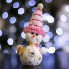 "Игрушка световая ""Снеговик в розовой шапочке"" (батарейки в комплекте) 6х17 см, 1 LED RGB"