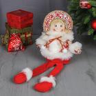 """Мягкая игрушка """"Снегурочка в шубке - длинные ножки"""" сидит 50 см красно-белый"""