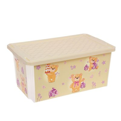 Ящик для игрушек Bears с крышкой, 12 л, цвет слоновая кость