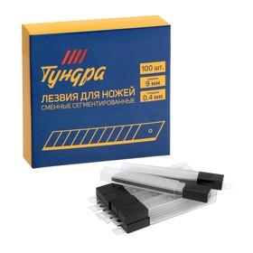 Лезвия для ножей TUNDRA, сегментированные, 9 х 0.4 мм, 10 контейнеров по 10 лезвий, 100 шт.