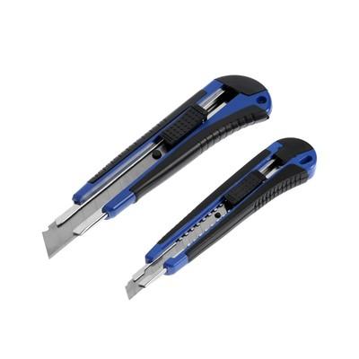 Набор ножей универсальных TUNDRA, металлическая направляющая, 2К корпус, 9 мм и 18 мм, 2 шт.