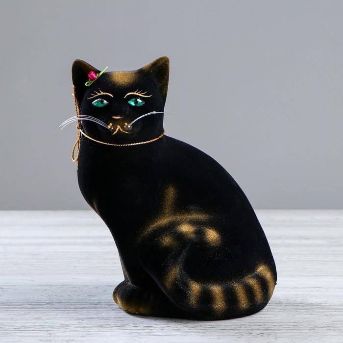 """Копилка """"Кошка Мурка"""", покрытие флок, чёрная, 22 см, микс"""