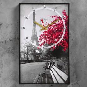 Часы настенные, серия: Город, 'Цветущее дерево в Париже', 57х35х4  см, микс Ош