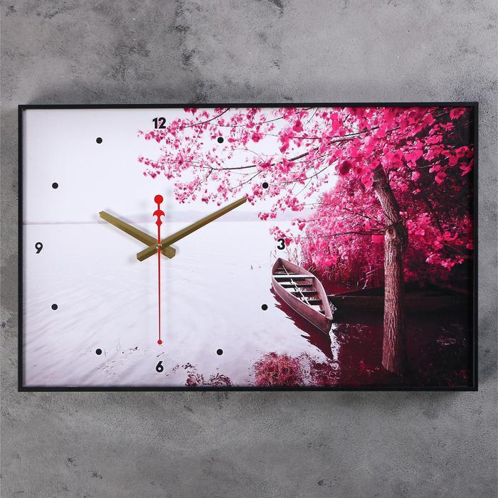 Часы настенные, серия Природа, Лодка, Фиолетовое дерево, 57х35х4 см , микс