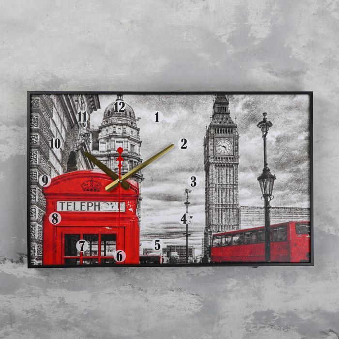 Часы настенные, серия Город, Биг Бен и телефонная будка, 57х35х4 см