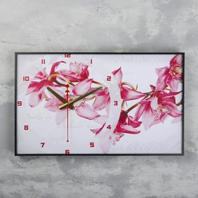 Часы-картина 'Орхидеи', 37х60  см, микс Ош