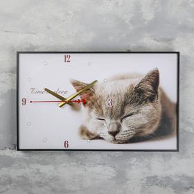 Часы настенные, серия: Животные, 'Серая кошка', 57х35х4см микс Ош