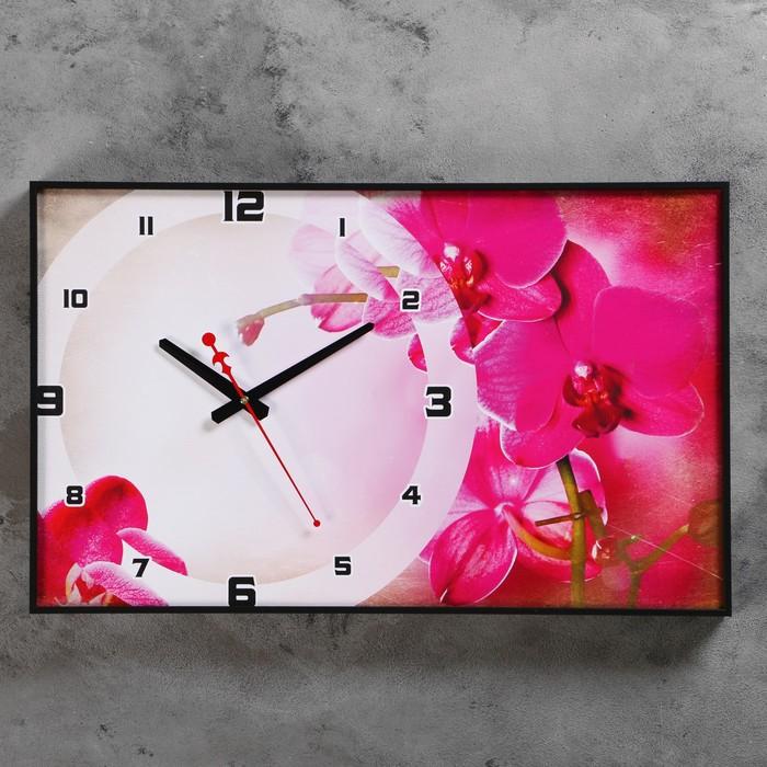 Часы-картина настенные прямоугольные Розовая мистерия, 37х60 см