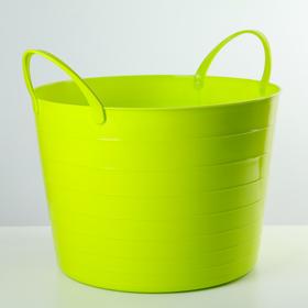 Корзина для белья мягкая, 17 л, 33×33×24,5 см, цвет ярко-зелёный