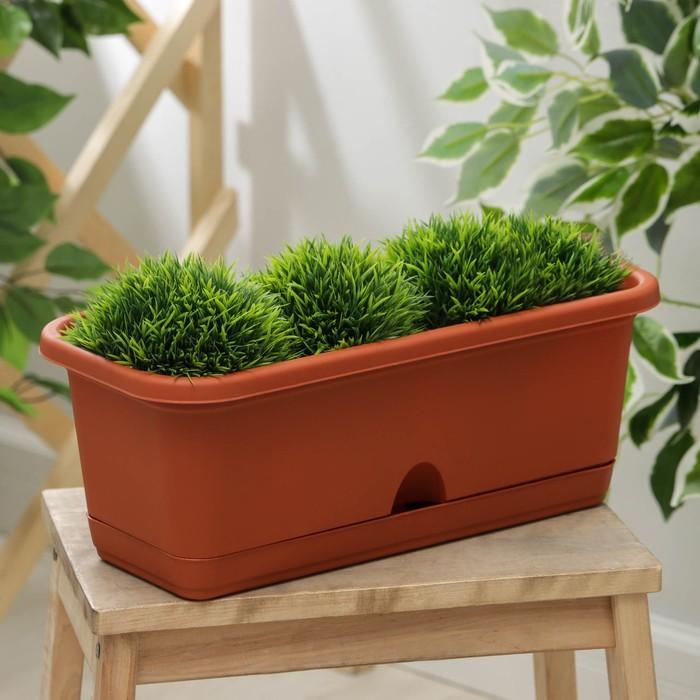 Балконный ящик с поддоном, 40 см, цвет терракотовый