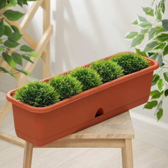 Балконный ящик с поддоном, 60 см, цвет терракотовый