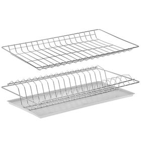 Комплект посудосушителей с поддоном для шкафа 50 см, 46,5×25,6 см, цинк, цвет серебристый Ош