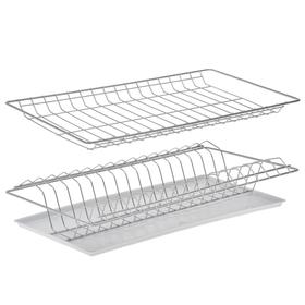 Комплект посудосушителей с поддоном для шкафа 50 см, 46,5×25,6 см, цвет хром Ош