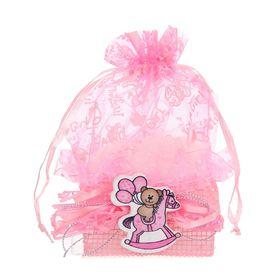 Бонбоньерка «Мишка с шарами на лошадке», цвет розовый Ош