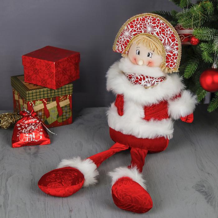 """Мягкая игрушка """"Снегурочка ярко-красная"""" (длинные ножки)"""
