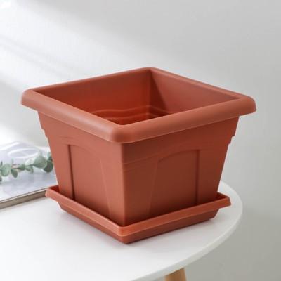 Горшок с поддоном «Квадро», 5,1 л, цвет терракотовый - Фото 1