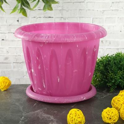 """Горшок для растений с поддоном 1,8 л, d=18 см """"Фелиция. Лофт"""", цвет МИКС"""