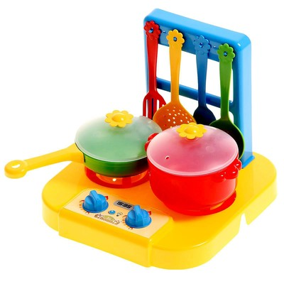 Набор посуды «Ромашка» с плиткой, 6 предметов, МИКС