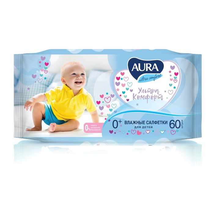 Влажные салфетки Aura Ultra Comfort, детские, 60 шт.