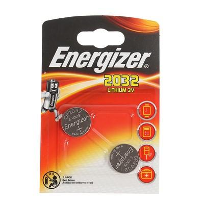 Батарейка литиевая Energizer, CR2032-2BL, 3В, блистер, 2 шт. - Фото 1