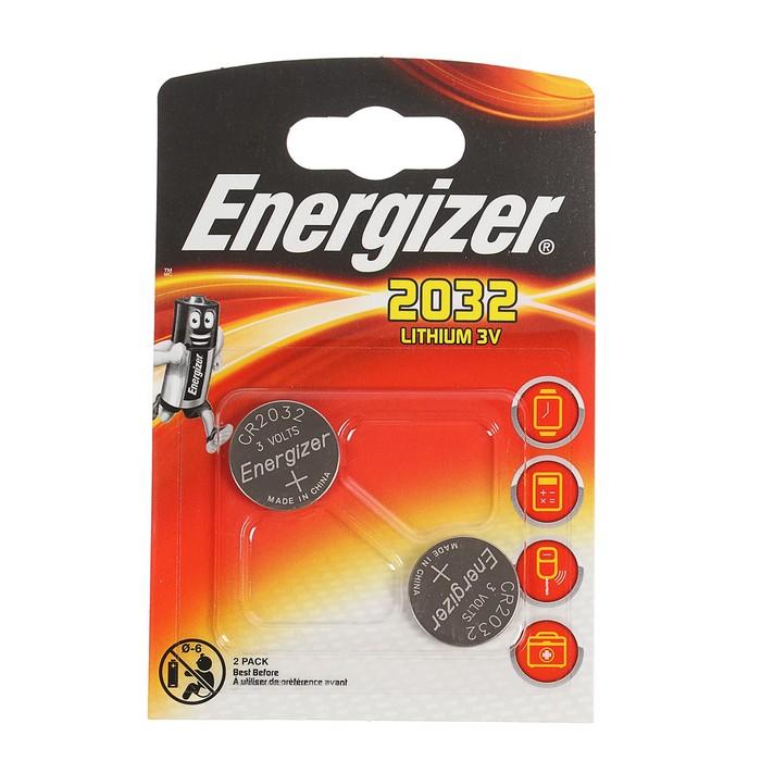 Батарейка литиевая Energizer, CR2032-2BL, 3В, блистер, 2 шт.