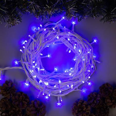 """Гирлянда """"Нить"""" 10 м , IP44, УМС, белая нить, 100 LED, свечение синее, 220 В - Фото 1"""